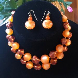 Jewelry - Vintage Japan moon glow necklace and earrings